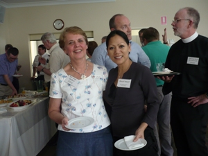 Rev Anne Halbert and Hazel Smart at lunch at the 2012 QCT AGM with The Very Revd Dr Peter Catt in conversation in the background. Photo by QCT.