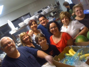 Volunteers in the kitchen.