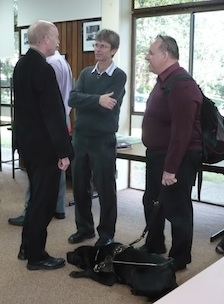 (L-R) The Revd Dr Jonathan Inkpin, Dr Mark Copland, Mr Peter Arndt and below Mr Arndt's guide dog, Ferguson. Photo by QCT.